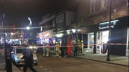 A section of Roman Road was cordoned off after the attack. Picture: @999London