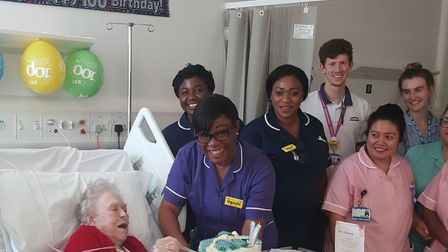 Florence Green with the nursing team at the Royal London Hospital. Picture: Barts
