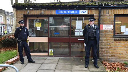 Police officers near the Tredegar Practice. Picture: Dominic Lipinski/PA Wire