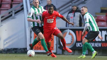 Shadrach Ogie in action for Leyton Orient on his debut for the club against Blyth Spartans (pic: Sim