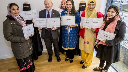 Graduating residents with Tower Hamlets Mayor Biggs. Picture: Swan Housing.