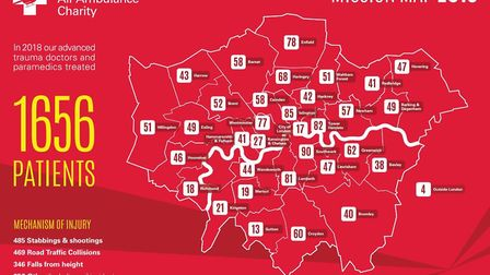 The amount of visits London's Air Ambulance made to each borough in 2018. Picture: London's Air Ambu