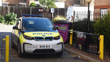Police at the scene of a murder on Globe Road Bethnal Green. Pic: Ken Mears