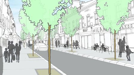 How Tower Hamlets Council sees Roman Road's future... same angle, wider pavements and a few trees dr