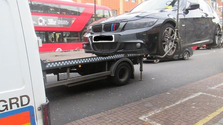 Suspect car being towed away to Tower Hamlets Council's Limehouse car pound. Picture: LBTH