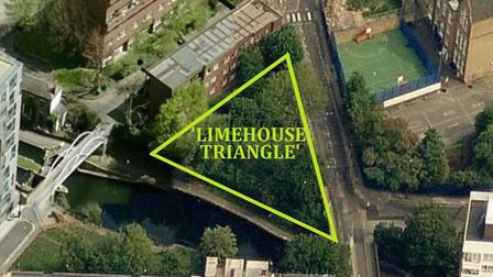 Limehouse Triangle biodiversity site created next to Regent's Canal in 2000, now lost, already surro