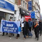 Protestors marching on Whitechapel Road from the East London Mosque. Picture: Luke Acton.