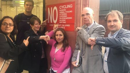 Campaigners including two Tower Hamlets councillors Peter Golds and Andrew Wood (right) in demo at c