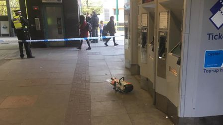 The buzzsaw left at the scene at Limehouse DLR Station. Picture: Luke Acton.