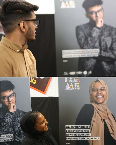 Pupils at the 'I Am Me�' launch with Kawsar Ali (top) viewing his own image, as does Rimaz Salih (ab