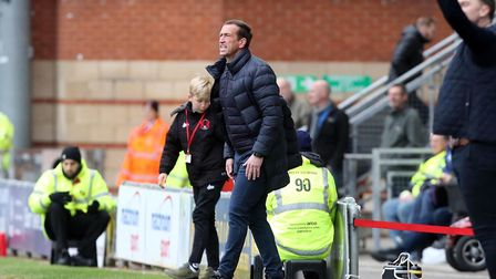 Leyton Orient head coach Justin Edinburgh issues instructions from the touchline against Halifax Tow