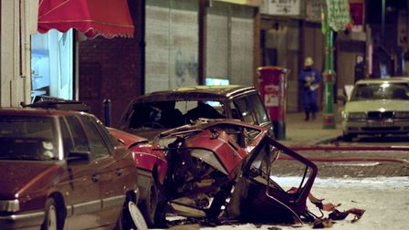 Wreckage of a Ford Sierra at the scene of the nail bombing in Brick Lane on April 24, 1999. Picture: