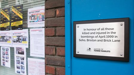 Plaque in Brick Lane to mark 20th anniversary of nail bombing when six people were injured in April
