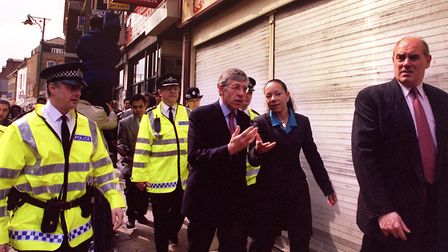 Home secretary in 1999 Jack Straw with the then-Bethnal Green and Bow MP Oona King visiting the scen