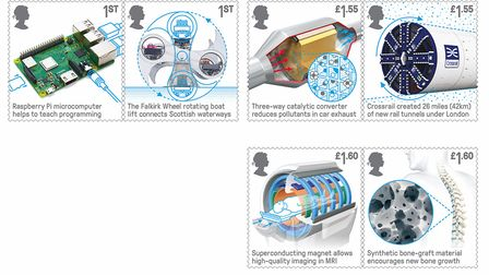 The whole series of stamps celebrating 50 years of British engineering. Picture: ROYAL MAIL