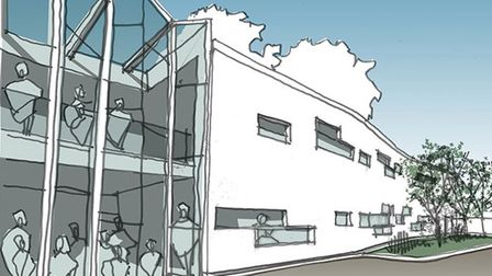 Rough sketch of how new state-of-the-art health centre will look with its glass frontage in Wellingt