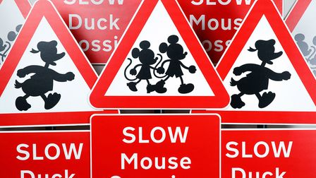 Britain's official road sign designer Margaret Calvert adds Mickey Mouse, Minnie Mouse and Donald Du