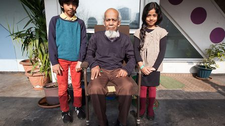 Moyna Miah and his grandchildren growing up on the estate. Picture: Kois Miah