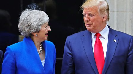 Prime minister Theresa May with US president Donald Trump during his state visit. Picture: Aaron Cho