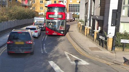 Approaching Tredegar Road... only buses are being allowed through for eight days from Saturday. Pict