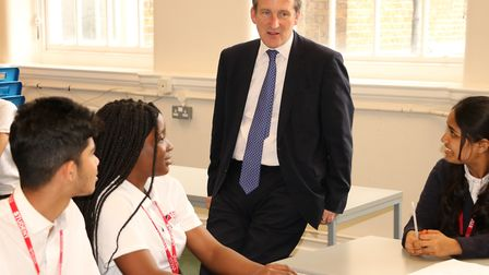 Education Secretary meeting young students on visit to New City College. Picture: New City