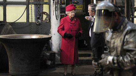 The Queen speaking to Whitechapel Bell Foundry owner Alan Hughes during her 2009 visit. Picture: Adr