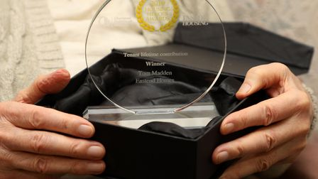 Tom's Lifetime Contriution trophy from the 'Housing Heroes' awards. Picture: Rehan Jamil