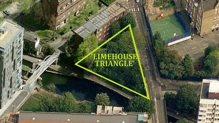 Limehouse Triangle next to the Regent's Canal, where tower block is going ahead despite the site's w