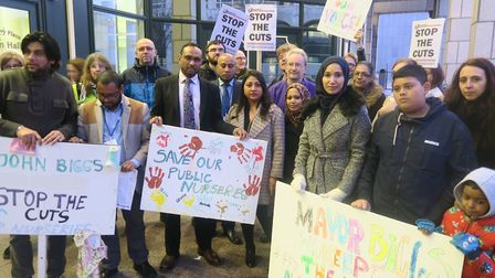 Parents join opposition councillors and trade unions to picket Tower Hamlets Council in 2018 over th