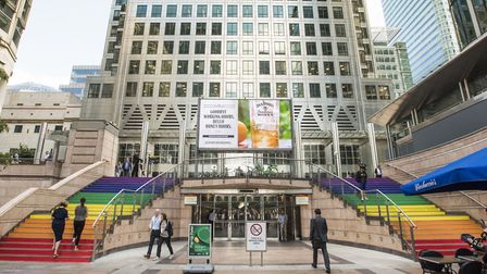 Reuters Plaza entrance stepping up support for Pride 2019. Picture: Sean Pollock/Canary Wharf
