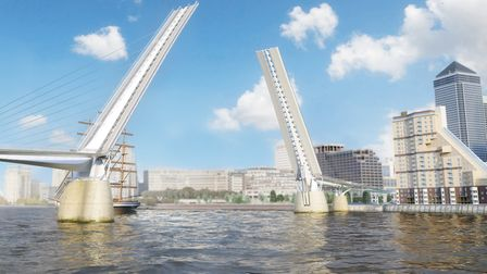 """Drawbridge withdrawn... ambitious Thames bridge at Canary Wharf is """"too costly"""". Picture: Nik Randal"""