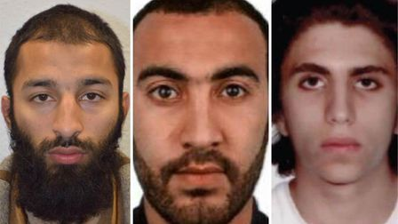 Left to right: Khuram Shazad Butt, Rachid Redouane and Youssef Zaghba. Picture: MET POLICE
