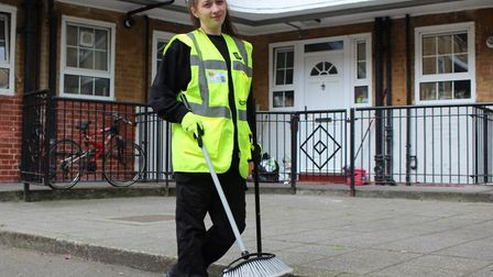 Sweeping clean in the national 'Housing Heroes' awards... apprentice caretaker Amber Crook, one of T