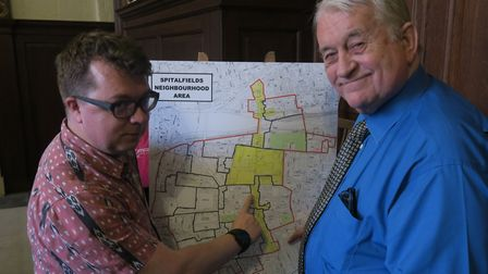 James Frankcomb and David Donoghue campaigned for a Spitalfields parish council. Picture: MIKE BROOK