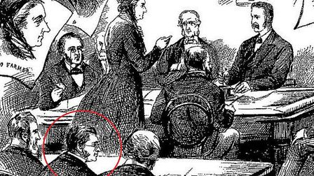 Engraving showing Craig (ringed) at press bench at Martha Tabum inquest in 1888. Picrture: London Me
