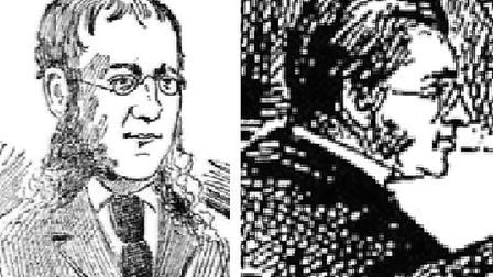 Image published in American newspaper 1890 of Ripper suspect (left) compared to engraving of Francis