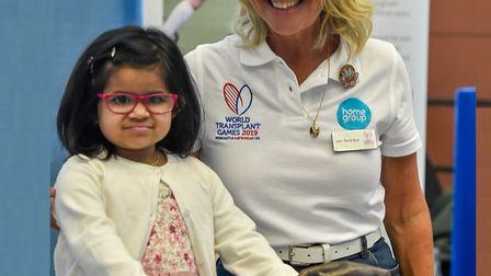 Little Fatima Mirza, the six-year-old who received part of Tom's liver, with Tom's mother Lisa Wilso