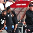 Leyton Orient interim head coach Ross Embleton (right) during the League Two match against Cheltenha