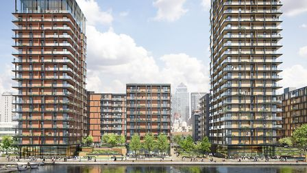 New complex envisaged for Millwall's 15-acre Westferry printworks site on the docks waterfront now p