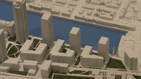 Model of the Westferry towers right on the quayside waterfront of Millwall Docks. Picture: Mike Broo