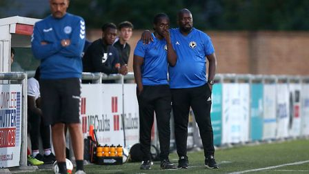 Tower Hamlets management during Woodford Town vs Tower Hamlets, Essex Senior League Football at The