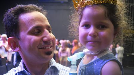 Leyana Baltaji and her dad Luay at the opening of English National Ballet's new production studio. P