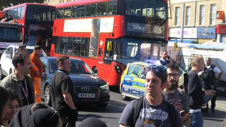 All traffic including buses were stuck for half-an-hour when the Whitechapel Road was blocked by cli