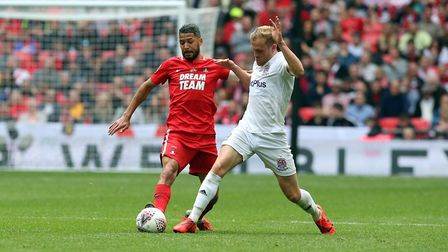 Leyton Orient captain Jobi McAnuff looks to get forward against AFC Fylde in the FA Trophy final at