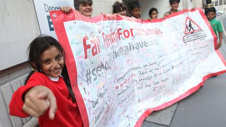 Funding crisis continues... pupils and teachers from 60 Tower Hamlets schools took petition to White