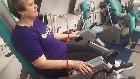 Christine Lilley... therapy treatment at Ability Bow gym. Picture: Stuart Wilson