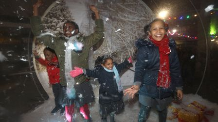 It's fun having your family snapshot inside a giant snow bubble. Picture: Rehan Jamil