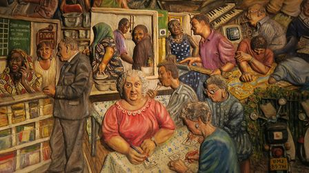 Mural at entrance to Oxford House depicting its social activities. Picture: Mike Brooke