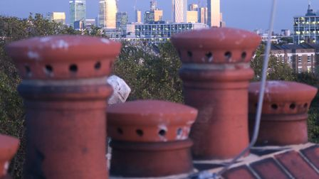 Canary Wharf seen from Oxford House rooftop terrace now open to the public for the first time. Pictu
