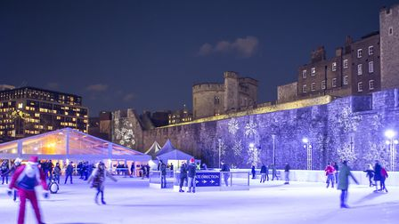 Emergency services staff can skate at the Tower of London for free. Picture: Arena
